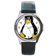 Angry Linux Tux Penguin Round Leather Watch (silver Rim) by youshidesign