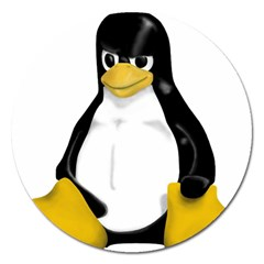 Angry Linux Tux Penguin Magnet 5  (round)