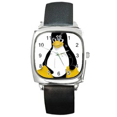Angry Linux Tux Penguin Square Leather Watch by youshidesign