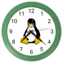 Angry Linux Tux Penguin Wall Clock (color)