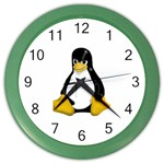 Angry Linux Tux penguin Wall Clock (Color) Front