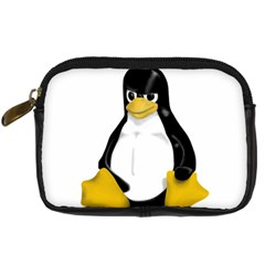 Angry Linux Tux Penguin Digital Camera Leather Case