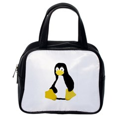 Primitive Linux Tux Penguin Classic Handbag (one Side) by youshidesign