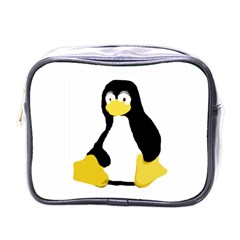 Primitive Linux Tux Penguin Mini Travel Toiletry Bag (one Side) by youshidesign