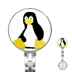 Primitive Linux Tux Penguin Stainless Steel Nurses Watch by youshidesign