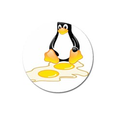 Linux Tux Penguin Birth Magnet 3  (round) by youshidesign