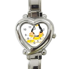 Linux Tux Penguin Birth Heart Italian Charm Watch  by youshidesign