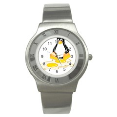 Linux Tux Penguin Birth Stainless Steel Watch (slim) by youshidesign
