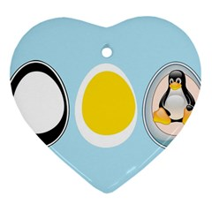 Linux Tux Penguin In The Egg Heart Ornament
