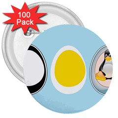 Linux Tux Penguin In The Egg 3  Button (100 Pack)