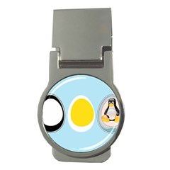 Linux Tux Penguin In The Egg Money Clip (round) by youshidesign