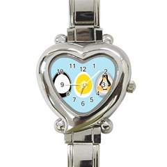 Linux Tux Penguin In The Egg Heart Italian Charm Watch