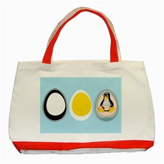 Linux Tux Penguin In The Egg Classic Tote Bag (red) by youshidesign