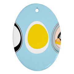 Linux Tux Penguin In The Egg Oval Ornament (two Sides) by youshidesign