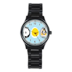 Linux Tux Penguin In The Egg Sport Metal Watch (black) by youshidesign