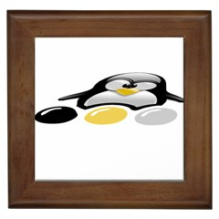 Linux Tux Pengion And Eggs Framed Ceramic Tile by youshidesign