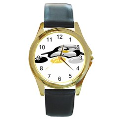 Linux Tux Pengion And Eggs Round Leather Watch (gold Rim)  by youshidesign