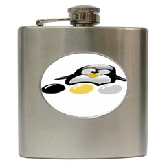 Linux Tux Pengion And Eggs Hip Flask by youshidesign