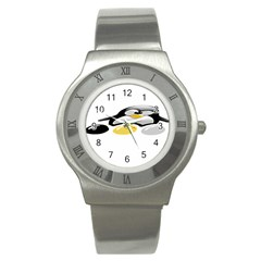 Linux Tux Pengion And Eggs Stainless Steel Watch (slim) by youshidesign