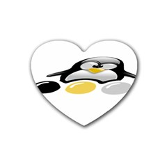 Linux Tux Pengion And Eggs Drink Coasters (heart) by youshidesign