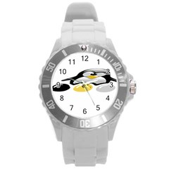Linux Tux Pengion And Eggs Plastic Sport Watch (large) by youshidesign