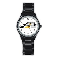Linux Tux Pengion And Eggs Sport Metal Watch (black) by youshidesign