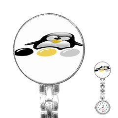 Linux Tux Pengion And Eggs Stainless Steel Nurses Watch by youshidesign