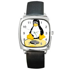 Linux Black Side Up Egg Square Leather Watch by youshidesign