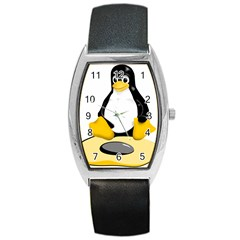 Linux Black Side Up Egg Tonneau Leather Watch by youshidesign