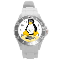Linux Black Side Up Egg Plastic Sport Watch (large) by youshidesign