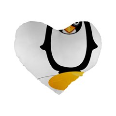 Linux Tux Pengion Oops 16  Premium Heart Shape Cushion  by youshidesign