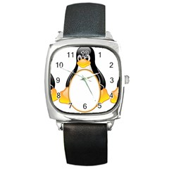 Linux Tux Penguins Square Leather Watch by youshidesign