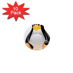 Crystal Linux Tux Penguin  1  Mini Button Magnet (10 Pack) by youshidesign