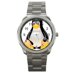 Crystal Linux Tux Penguin  Sport Metal Watch by youshidesign