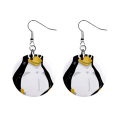 Linux Tux Contra Sit Mini Button Earrings by youshidesign