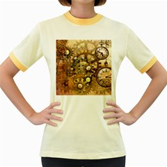 Steampunk Womens  Ringer T Shirt (colored) by Ancello