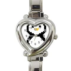 Pixel Linux Tux Penguin Heart Italian Charm Watch  by youshidesign