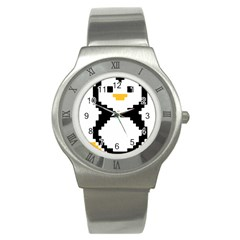 Pixel Linux Tux Penguin Stainless Steel Watch (slim) by youshidesign