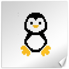 Pixel Linux Tux Penguin Canvas 20  X 20  (unframed) by youshidesign