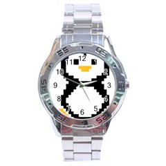 Pixel Linux Tux Penguin Stainless Steel Watch by youshidesign