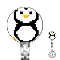 Pixel Linux Tux Penguin Stainless Steel Nurses Watch by youshidesign