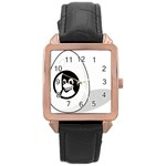 LIUX TUX EGG BRAND Rose Gold Leather Watch  Front