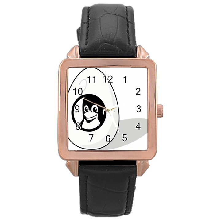 LIUX TUX EGG BRAND Rose Gold Leather Watch
