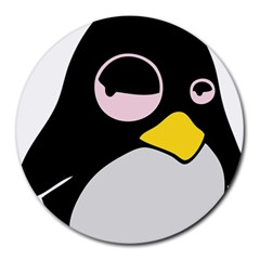 Lazy Linux Tux Penguin 8  Mouse Pad (round) by youshidesign