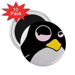 Lazy Linux Tux Penguin 2 25  Button Magnet (10 Pack) by youshidesign