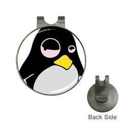 Lazy Linux Tux Penguin Hat Clip With Golf Ball Marker by youshidesign