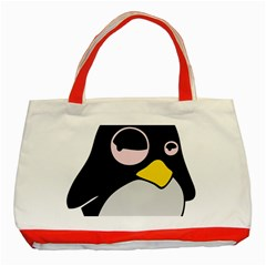 Lazy Linux Tux Penguin Classic Tote Bag (red) by youshidesign