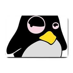 Lazy Linux Tux Penguin Small Door Mat by youshidesign