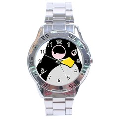 Lazy Linux Tux Penguin Stainless Steel Watch by youshidesign
