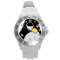 Lazy Linux Tux Penguin Plastic Sport Watch (large) by youshidesign